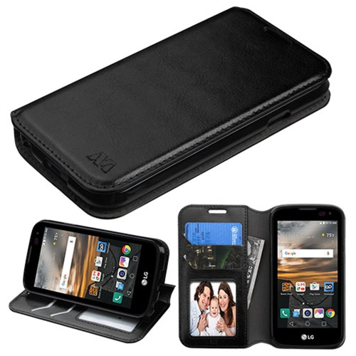 Insten Folio Leather Fabric Case w/stand/card slot/Photo Display For LG K3 (2016) - Black