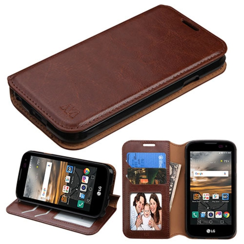 Insten Folio Leather Fabric Cover Case w/stand/card slot/Photo Display For LG K3 (2016) - Brown