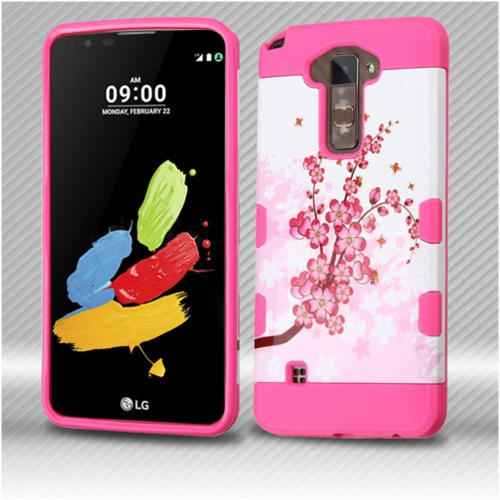 Insten Spring Flowers Hard TPU Cover Case For LG Stylus 2 - Pink/White