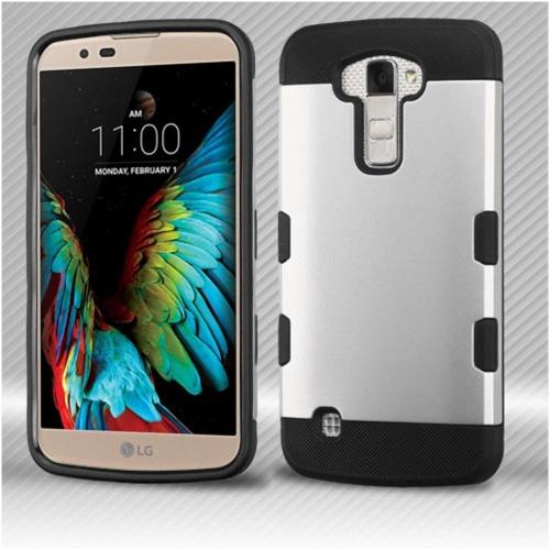 Insten Hard TPU Cover Case For LG K10 (2016)/Premier LTE - Silver/Black