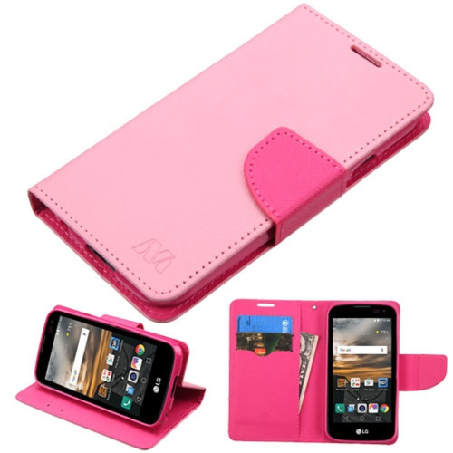 Insten Folio Leather Fabric Case w/stand/card slot For LG K3 (2016) - Pink