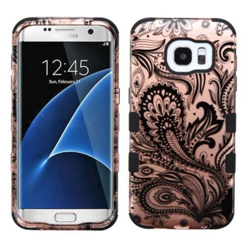 Insten Phoenix Flower Hard Rubber Silicone Case For Samsung Galaxy S7 Edge, Rose Gold/Black