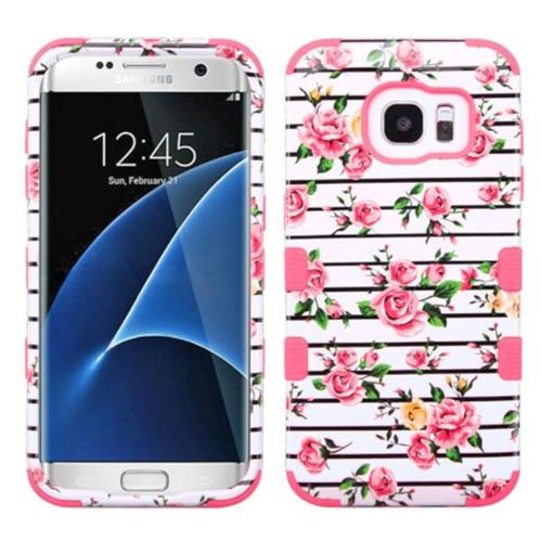 Insten Fresh Roses Hard Hybrid Rubber Silicone Cover Case For Samsung Galaxy S7 Edge, Pink/White