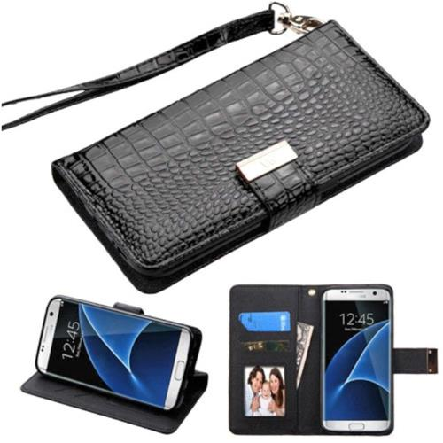Insten Folio Leather Crocodile Skin Case Lanyard w/stand For Samsung Galaxy S7 Edge, Black