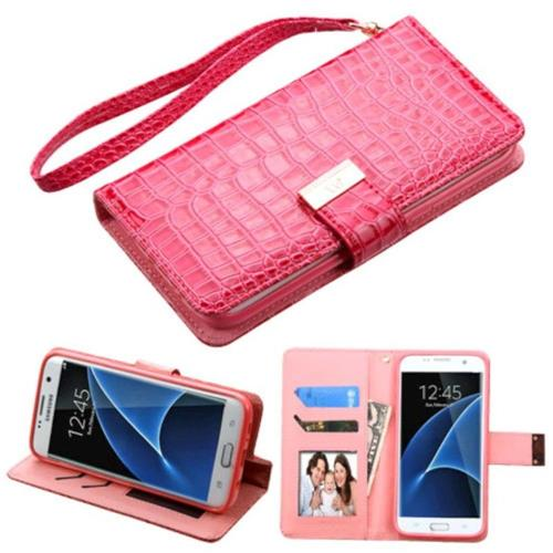 Insten For Samsung Galaxy S7 Edge Crocodile Flip Leather Wallet Case Stand Hot Pink