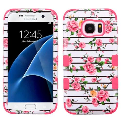 Insten Fresh Roses Hard Dual Layer Rubberized Silicone Cover Case For Samsung Galaxy S7, Pink/White