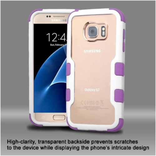 Insten Hard Hybrid Crystal Silicone Case For Samsung Galaxy S7 - Clear/Purple