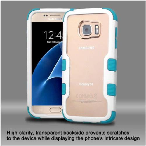 Insten Hard Dual Layer Crystal Silicone Cover Case For Samsung Galaxy S7 - Clear/Blue