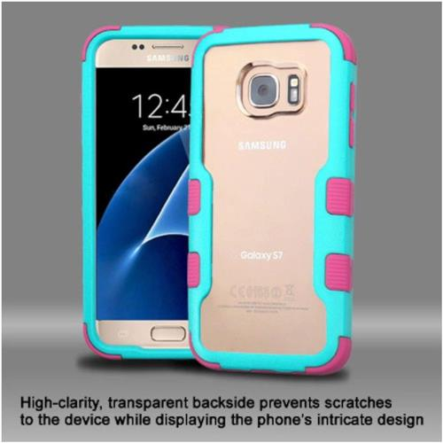 Insten Hard Hybrid Crystal Silicone Case For Samsung Galaxy S7 - Clear/Teal