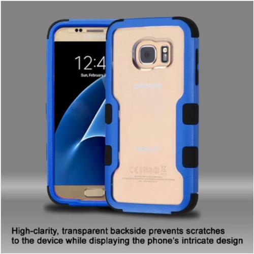 Insten Hard Hybrid Crystal Silicone Cover Case For Samsung Galaxy S7 - Clear/Blue
