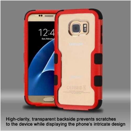 Insten Hard Hybrid Crystal Silicone Case For Samsung Galaxy S7 - Clear/Red