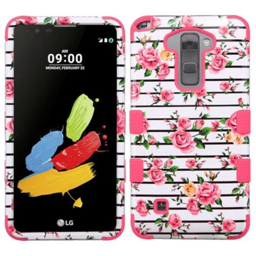 Insten Tuff Fresh Roses Hard Hybrid Rubber Coated Silicone Case For LG Stylo 2/Stylus 2 - Pink/White