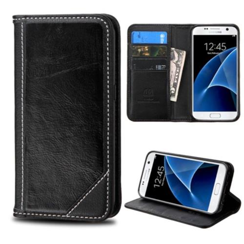 Insten Folio Leather Fabric Cover Case w/stand/card holder For Samsung Galaxy S7 - Black