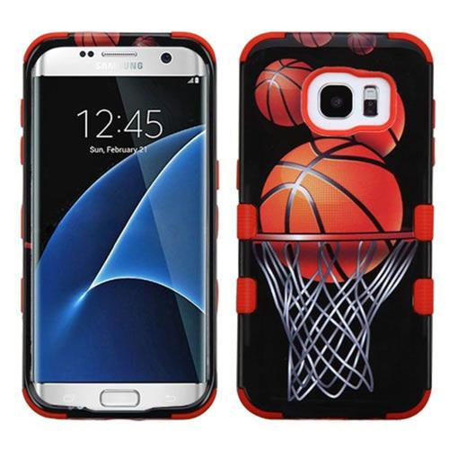 Insten Basketball Hoop Hard Rubberized Silicone Cover Case For Samsung Galaxy S7 Edge, Black/Orange