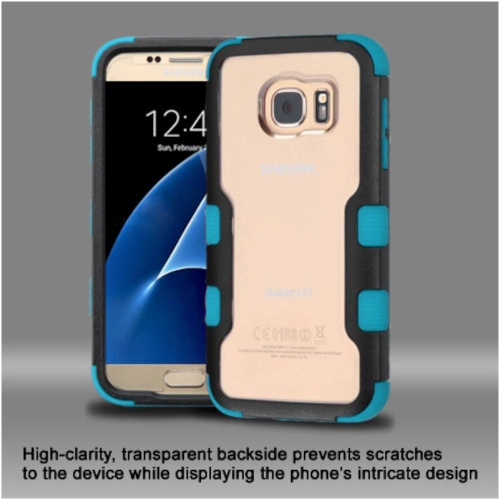 Insten Hard Dual Layer Crystal Silicone Case For Samsung Galaxy S7 - Clear/Blue