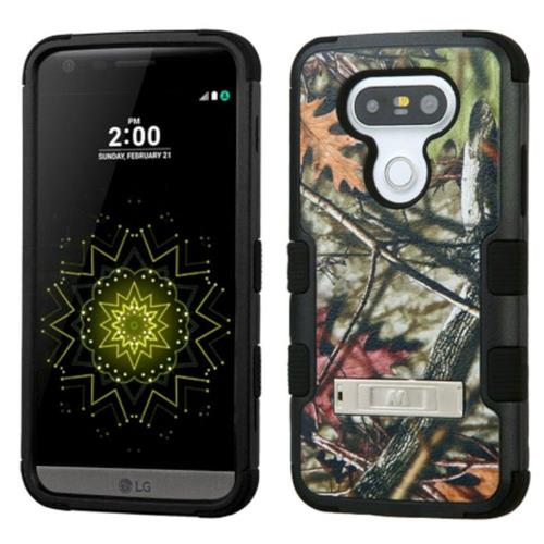 Insten Tuff Oak Leaves Hard Hybrid Silicone Case w/stand For LG G5 - Green/Black