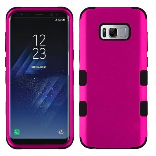 Insten Tuff Hard Dual Layer Rubber Coated Silicone Case For Samsung Galaxy S8 - Hot Pink/Black