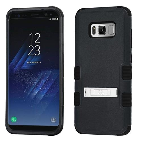 Insten Tuff Hard Dual Layer Rubberized Silicone Cover Case w/stand For Samsung Galaxy S8 - Black