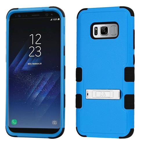 Insten Hard Dual Layer Rubber Coated Silicone Cover Case w/stand For Samsung Galaxy S8, Blue/Black