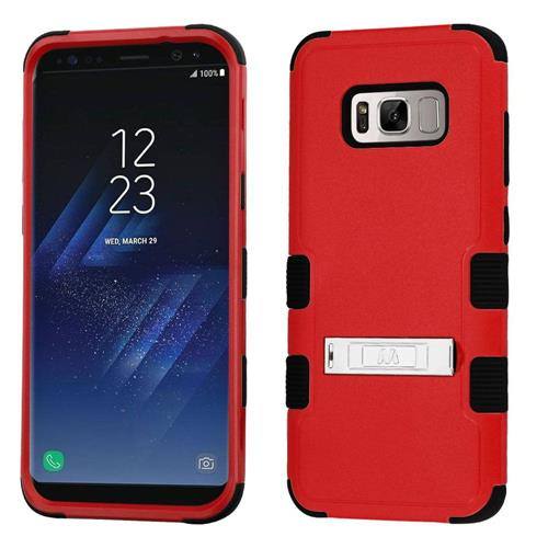 Insten Tuff Hard Hybrid Rubber Silicone Cover Case w/stand For Samsung Galaxy S8 - Red/Black