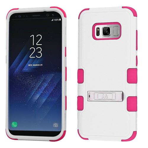 Insten Tuff Hard Hybrid Silicone Cover Case w/stand For Samsung Galaxy S8 - White/Hot Pink