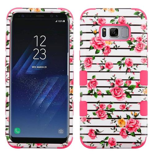 Insten Tuff Fresh Roses Hard Dual Layer Silicone Cover Case For Samsung Galaxy S8 Plus - White/Pink
