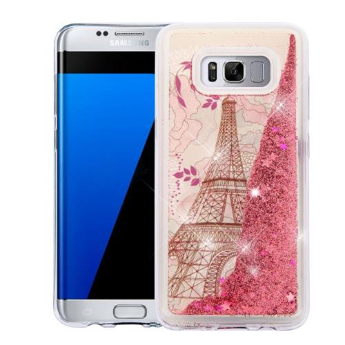 Insten Quicksand Eiffel Tower Hard Glitter TPU Case For Samsung Galaxy S8 Plus - Rose Gold