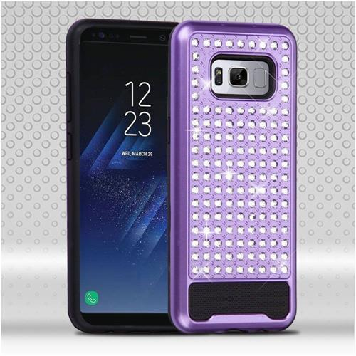 Insten Hard Hybrid Rhinestone Silicone Case For Samsung Galaxy S8 - Purple/Black