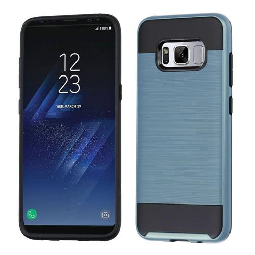 Insten Hard Hybrid Brushed TPU Cover Case For Samsung Galaxy S8 Plus - Grayish Blue/Black