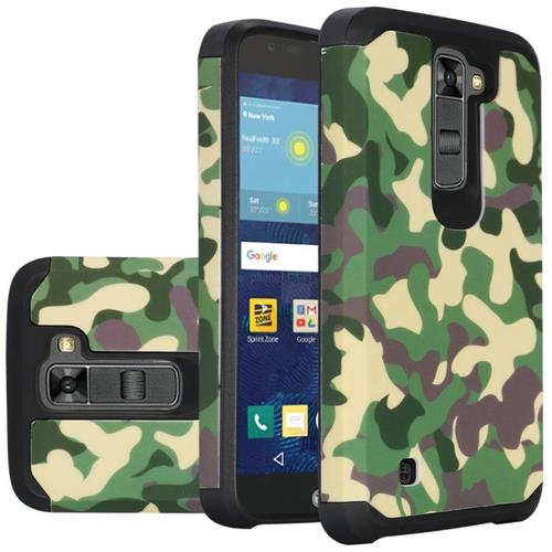 Insten Camouflage Hard Dual Layer Silicone Cover Case For LG K7 Tribute 5 - Green/Black