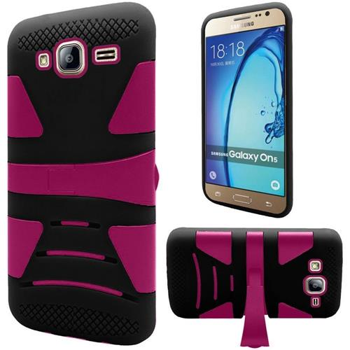 Insten Hard Dual Layer Rubberized Silicone Case For Samsung Galaxy On5 - Black/Hot Pink