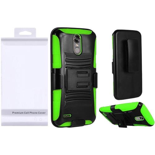 Insten Hard Hybrid Plastic Silicone Cover Case w/Holster For LG Stylo 3 - Black/Neon Green