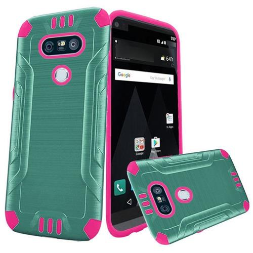 Insten Hard Dual Layer Brushed TPU Cover Case For LG V20 - Teal/Hot Pink
