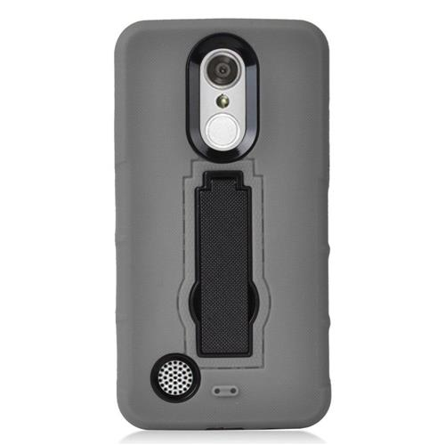 Insten Soft Hybrid Rubber Hard Case w/stand For LG Aristo/K8 (2017)/LV3 - Gray/Black