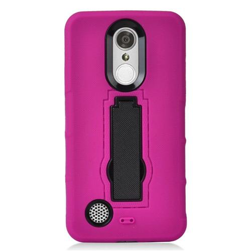 Insten Rubber Hybrid Hard Cover Case w/stand For LG Aristo/K8 (2017)/LV3 - Hot Pink/Black