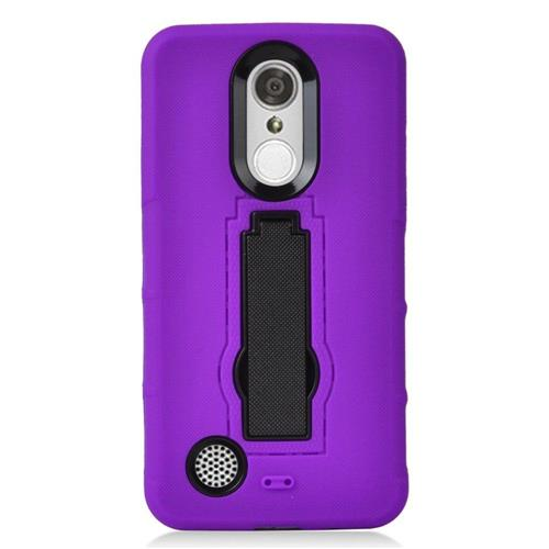 Insten Gel Dual Layer Rubber Hard Cover Case w/stand For LG Aristo/K8 (2017)/LV3 - Purple/Black