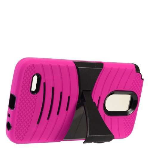 Insten Gel Dual Layer Rubber Hard Cover Case w/stand For LG Stylo 3 - Hot Pink/Black