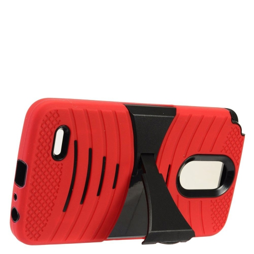 Insten Rubber Dual Layer Hard Cover Case w/stand For LG Stylo 3 - Red/Black