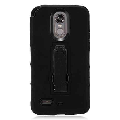Insten Gel Hybrid Rubber Hard Case w/stand For LG Stylo 3 - Black