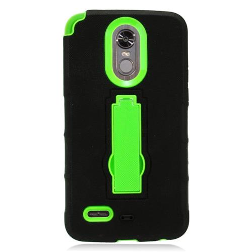 Insten Gel Dual Layer Rubber Hard Cover Case w/stand For LG Stylo 3 - Black/Green