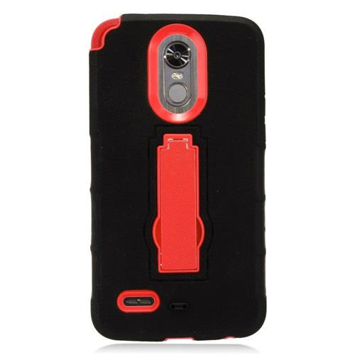 Insten Rubber Dual Layer Hard Cover Case w/stand For LG Stylo 3 - Black/Red