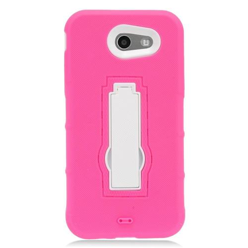 Insten Gel Dual Layer Rubber Hard Case w/stand For Samsung Galaxy J3 (2017) - Hot Pink/White