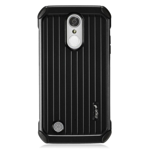 Insten Hard Dual Layer Rubber Coated Silicone Case For LG Aristo/K8 (2017)/LV3 - Black