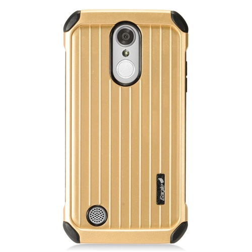 Insten Hard Hybrid Rubberized Silicone Cover Case For LG Aristo/K8 (2017)/LV3 - Gold/Black
