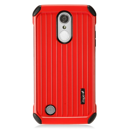 Insten Hard Dual Layer Rubberized Silicone Case For LG Aristo/K8 (2017)/LV3 - Red/Black