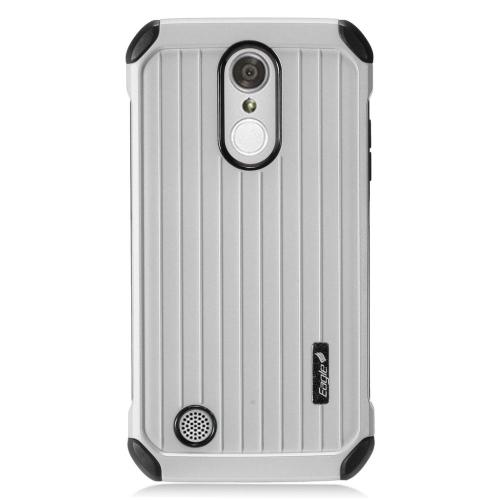 Insten Hard Dual Layer Silicone Cover Case For LG Aristo/K8 (2017)/LV3 - Silver/Black