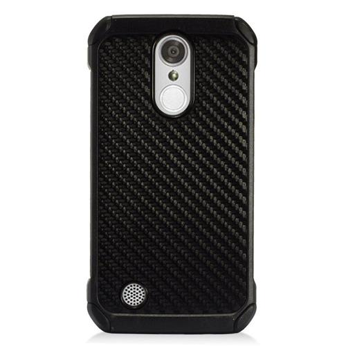 Insten Carbon Fiber Hard Hybrid TPU Cover Case For LG Aristo/K8 (2017)/LV3 - Black