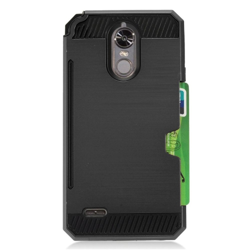 Insten Hard Hybrid TPU Case w/card slot For LG Stylo 3 - Black