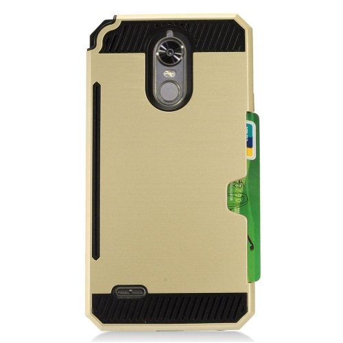 Insten Hard Hybrid TPU Cover Case w/card slot For LG Stylo 3 - Gold/Black