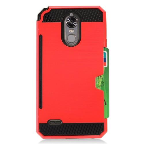 Insten Hard Dual Layer TPU Case w/card holder For LG Stylo 3 - Red/Black